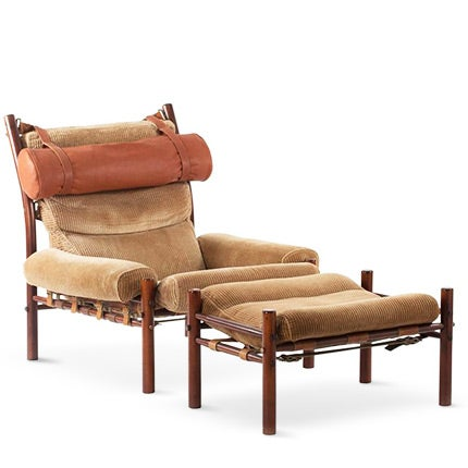 Arne Norell Lounge Chair and Ottoman, 1960s