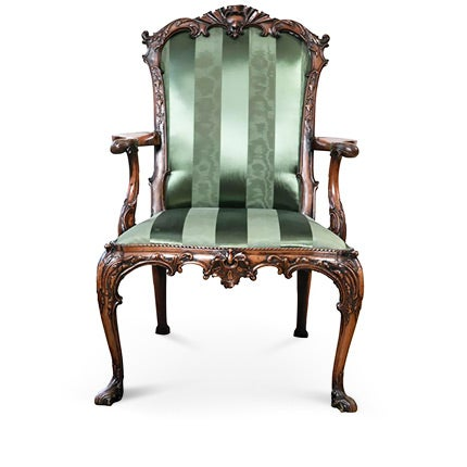Portuguese Rococo Carved Mahogany Armchair, 18th Century
