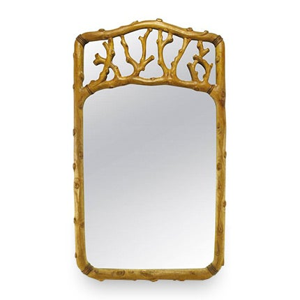 Hand-Carved Fruitwood Faux-Bois Mirror, 1960s