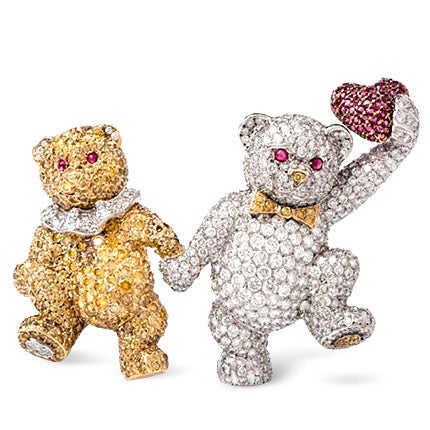 White and Yellow Diamond and Ruby Teddy Bears Pin, 1980