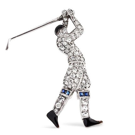 Tiffany & Co. Diamond Golfer Pin, 1920s