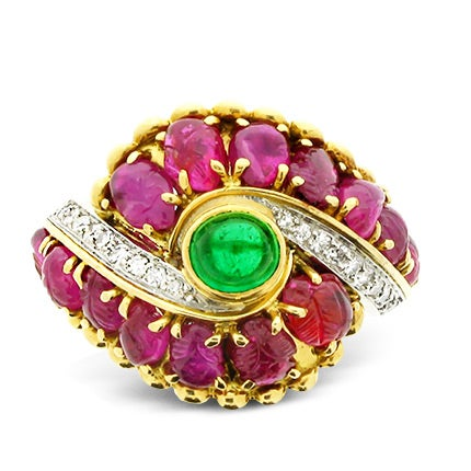 Marchak Emerald, Carved Ruby and Diamond Ring, ca. 1950