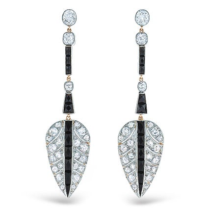 Fred Leighton Onyx and Diamond Earrings, 2016