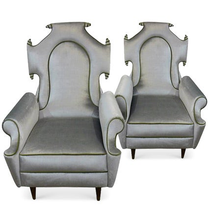 Hollywood Regency–Style Armchairs, 1950s
