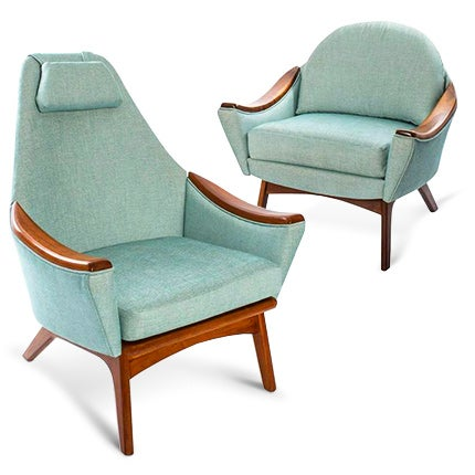 Adrian Pearsall His and Hers Lounge Chairs, 1950s