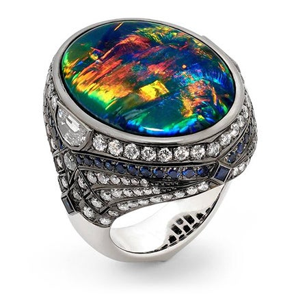 25.10 Carat Lightning Ridge Black Opal, Blue Sapphire and Diamond Ring, 2017