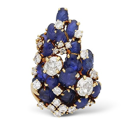 Marchak Carved Sapphire and Diamond Cocktail Ring, ca. 1940