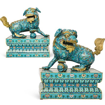 Chinese Cloisonné Fu Dogs, 19th Century