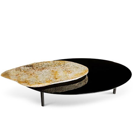 Agate and Black Tempered Glass Table with Rotating Top, 2017