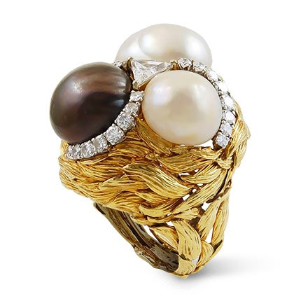 David Webb Diamond and Cultured Pearl Ring, 1970s