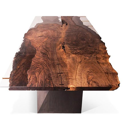 Taylor Donsker Walnut, Bronzed Glass and Blackened Steel Dining Table, Made to Order