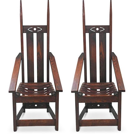 High Back Mission Chairs, Early 20th Century