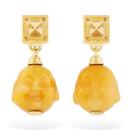 Yellow Jade amd Citrine Earrings, 2013