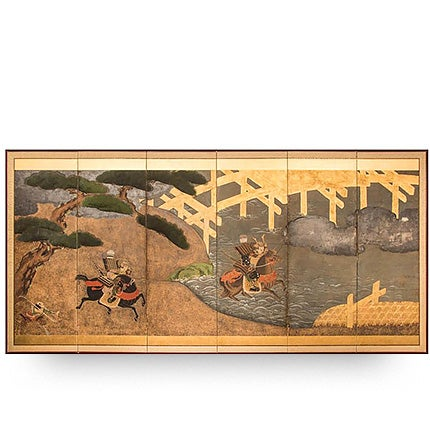 Battle of Uji Bridge Screen, ca. 1850