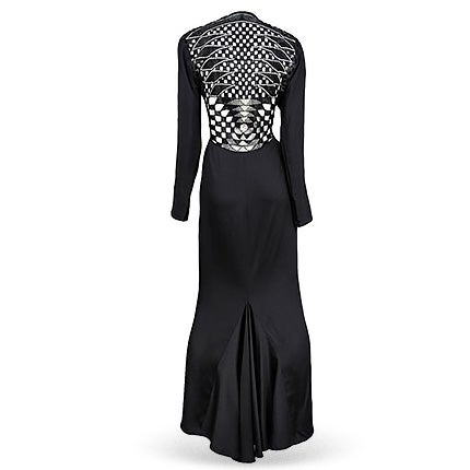 Versace Black Deco Cutout Gown, Late 20th Century