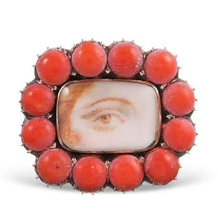 Coral-Framed Lover's Eye Pin, 1820s