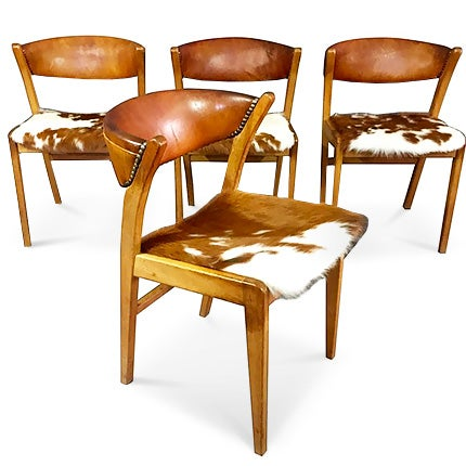 Leather and Cowhide Dining Chairs, 1960s