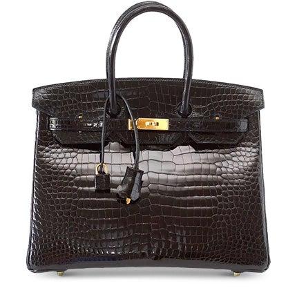 Hermès Birkin 35 Black Porosus Crocodile Bag, 21st Century
