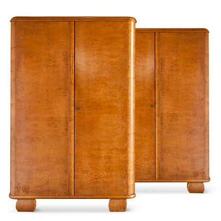 Bird's-Eye Maple Art Deco Armoires, ca. 1940