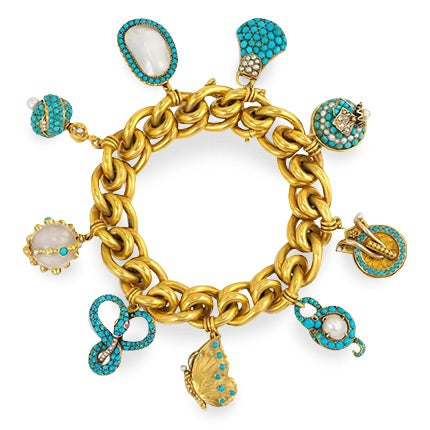 Gold Bracelet with Assorted Turquoise and Pearl Charms, 19th Century