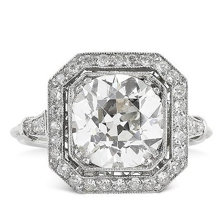 3.10 Carat Old European Cut Diamond Ring, 1920s
