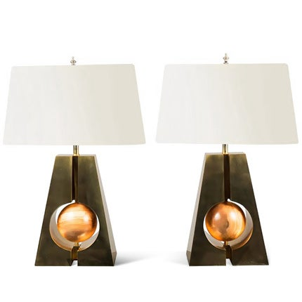 Brass and Wood Table Lamps, 2017