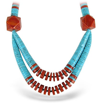 Santo Domingo Turquoise and Spiny Oyster Necklace, 1950s