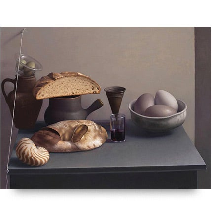Amy Weiskopf, Still Life with Bread, Shell and Eggs, 2016
