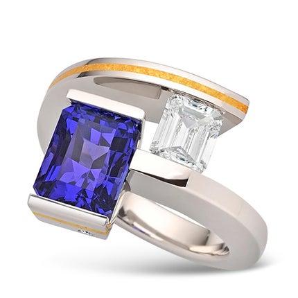 Steven Kretchmer 2-Stein-Helix-Ring mit Tansanit und Diamantbesatz