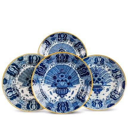 Platten Blau und weiß Delfter Gruppe von einem Dutzend