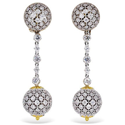 Mario Buccellati Diamond Earrings, Mid 20th Century