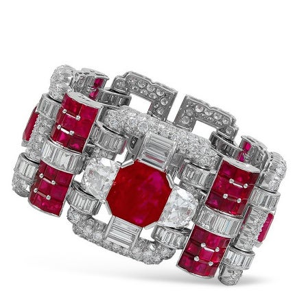Van Cleef & Arpels Diamond and Ruby Bracelet, 1930s