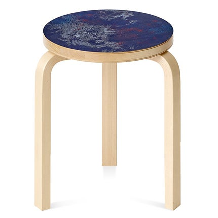 Artek + Heath Collection Alvar Aalto Stool with David Dodde Screenprinted Seat, 21st Century