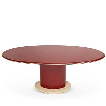Red Lacquer Dining Table or Desk, 1980s