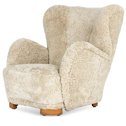 Danish Modern Sheepskin Lounge Chair, 1930s