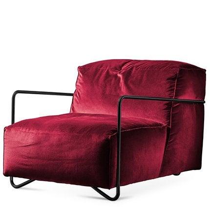 Je T'Attends Sessel in Magenta Samt und poliertem schwarzem Metall