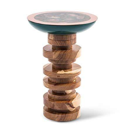 Kupfer, Lackiertes Holz & Afrikanischer Kiaat Verdigris TOTEM Beistelltisch von Egg Designs