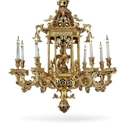 Vergoldeter Kronleuchter im Chinese-Chippendale-Stil, Spätes 19. Jahrhundert