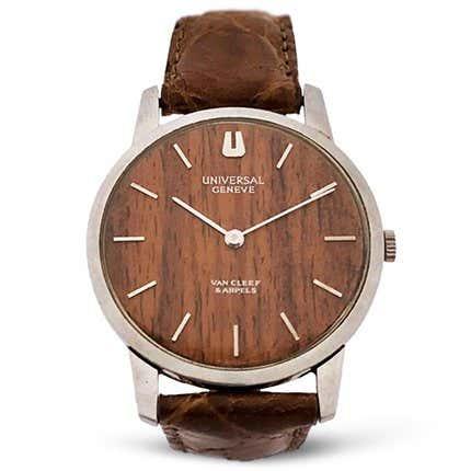 Van Cleef & Arpels Universal Geneve Holz Zifferblatt Stahl mechanische Armbanduhr