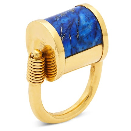 Cellini Padlock Design Ring, 1980s