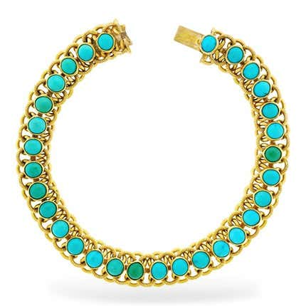 Turquoise and 22K Gold Bracelet, 1960s