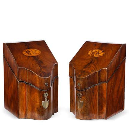 Pair of George III Inlaid Satinwood Cutlery Boxes, Late 18th Century