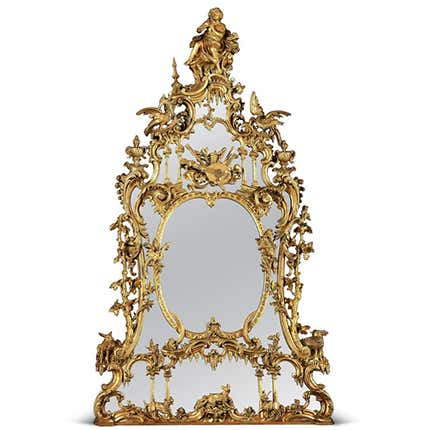 George III–Style Carved Mirror, 19th Century