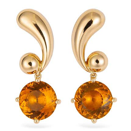 Cartier Citrine and Gold Earrings, 1950s