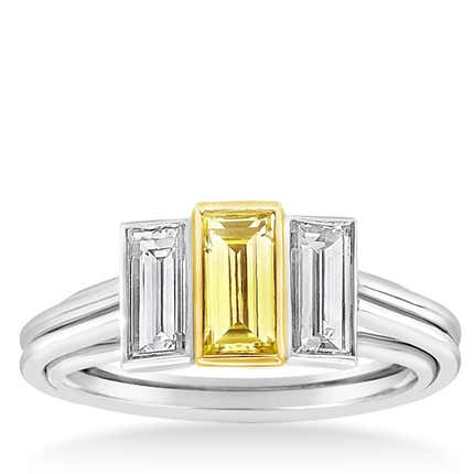 GIA-Certified Yellow and White Diamond Engagement Ring, 2019