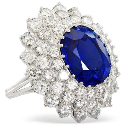 TMW Jewels Co. Sapphire & Diamond Cluster Ring, 2000s