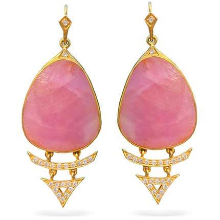 Lauren Harper Pink Sapphire, Diamond & Gold Earrings, 2019