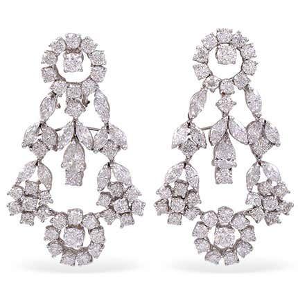 Diamond Drop Earrings, 20th Century