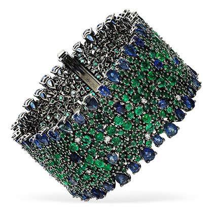 Blue Sapphire, Emerald and Diamond Bracelet, 2019