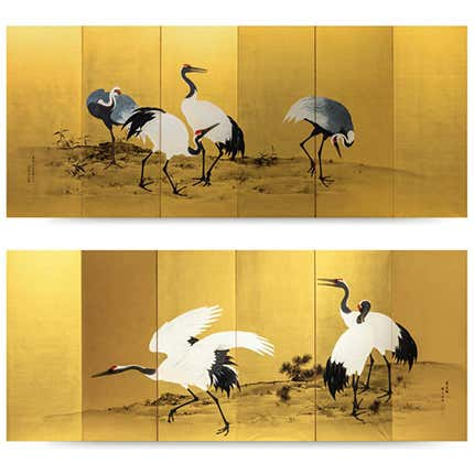 Mochizuki Gyokkei Painted Golden Screen, 1906